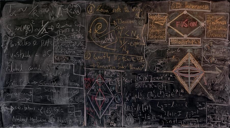 quantum physics on chalkboard